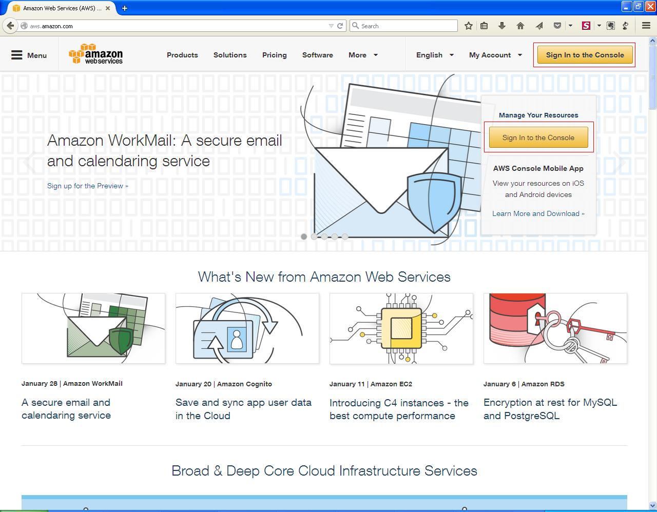 AWS front page