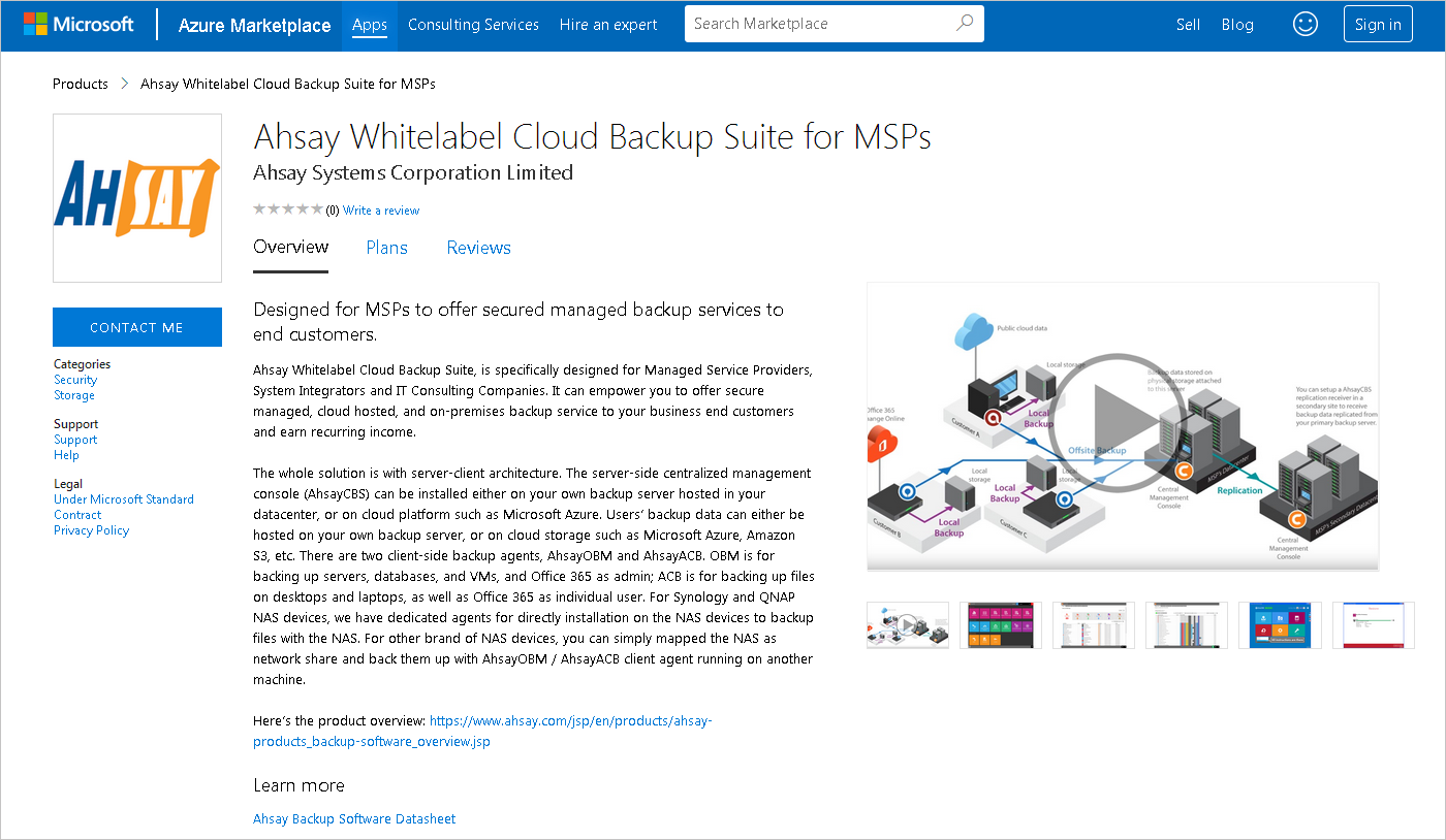 Ahsay backup solution listed on Azure Marketplace