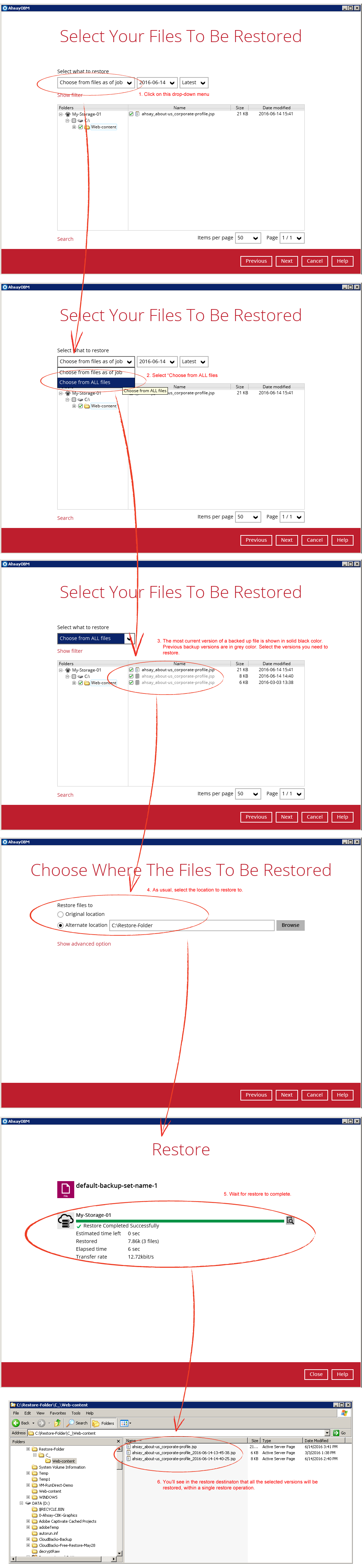 How to restore multiple versions in a single restore operation with AhsayOBM / AhsayACB