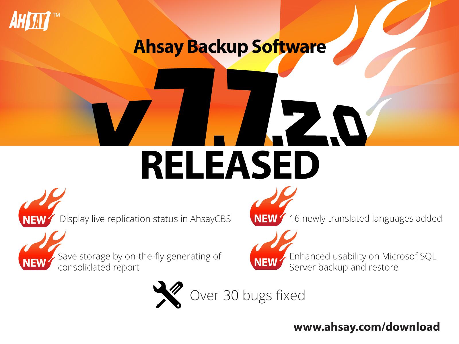 Ahsay Backup Software v7.7.2.0 Released