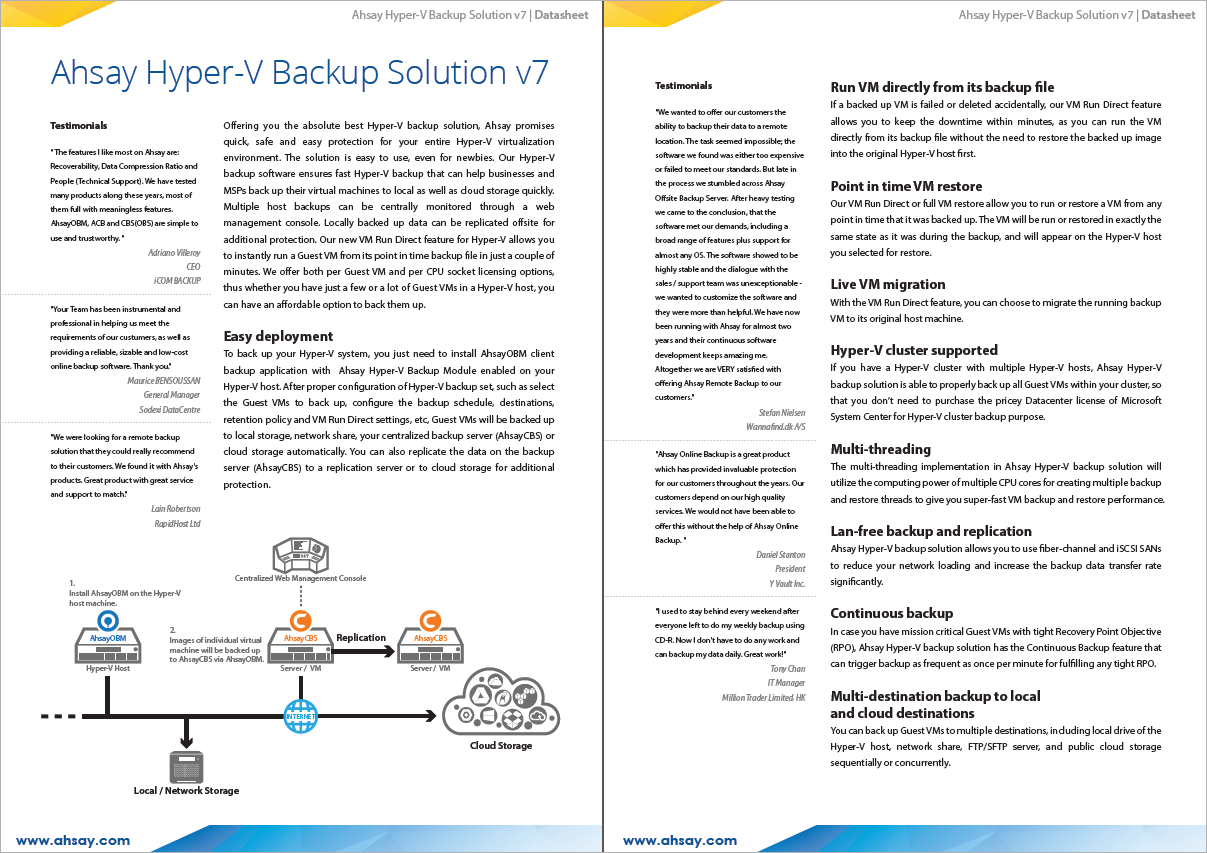 Datasheets for Hyper-V, Synology NAS and VMware backups